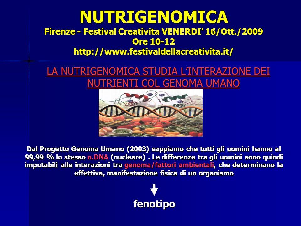 NUTRIGENOMICA Firenze - Festival Creativita VENERDI 16/Ott./2009 Ore 10-12 http://www.festivaldellacreativita.it/ LA NUTRIGENOMICA STUDIA LINTERAZIONE DEI NUTRIENTI COL GENOMA UMANO fenotipo Dal Progetto Genoma Umano (2003) sappiamo che tutti gli uomini hanno al 99,99 % lo stesso n.DNA (nucleare).