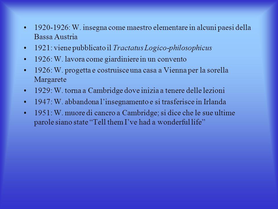 CENNI BIOGRAFICI Ludwig Wittgenstein nasce a Vienna il 26 aprile 1889 1908: W. è a Manchester a studiare ingegneria aeronautica 1911-1914: W. a Cambri