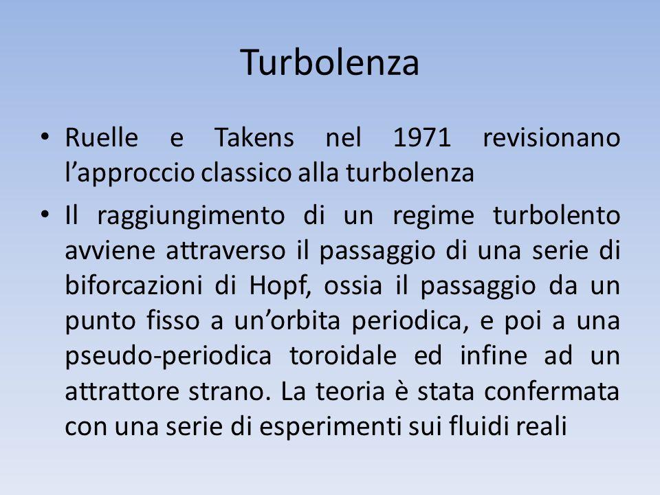 Turbolenza Ruelle e Takens nel 1971 revisionano lapproccio classico alla turbolenza Il raggiungimento di un regime turbolento avviene attraverso il pa