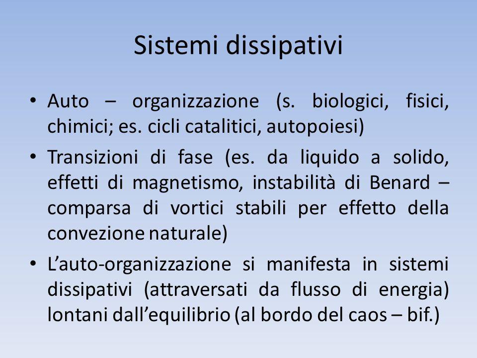 Sistemi dissipativi Auto – organizzazione (s. biologici, fisici, chimici; es. cicli catalitici, autopoiesi) Transizioni di fase (es. da liquido a soli