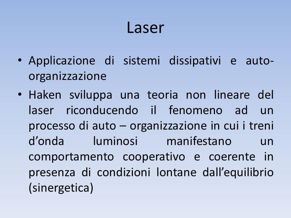 Laser Applicazione di sistemi dissipativi e auto- organizzazione Haken sviluppa una teoria non lineare del laser riconducendo il fenomeno ad un proces