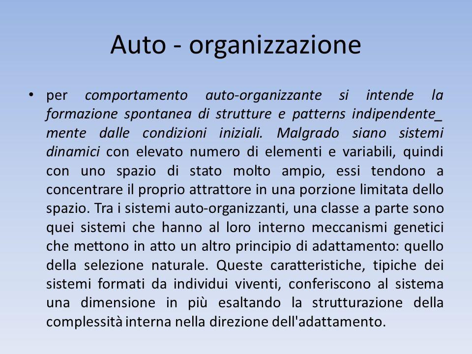 Auto - organizzazione per comportamento auto-organizzante si intende la formazione spontanea di strutture e patterns indipendente_ mente dalle condizi