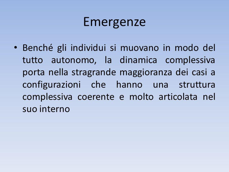 Emergenze Benché gli individui si muovano in modo del tutto autonomo, la dinamica complessiva porta nella stragrande maggioranza dei casi a configuraz