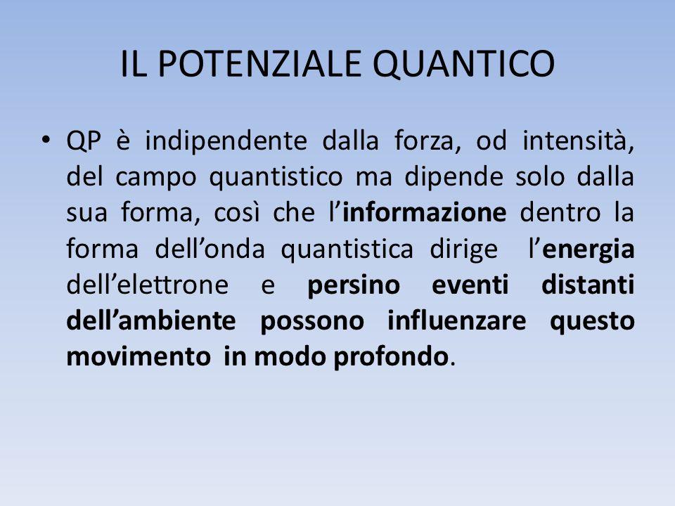 IL POTENZIALE QUANTICO QP è indipendente dalla forza, od intensità, del campo quantistico ma dipende solo dalla sua forma, così che linformazione dent