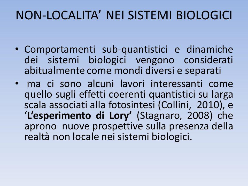 NON-LOCALITA NEI SISTEMI BIOLOGICI Comportamenti sub-quantistici e dinamiche dei sistemi biologici vengono considerati abitualmente come mondi diversi