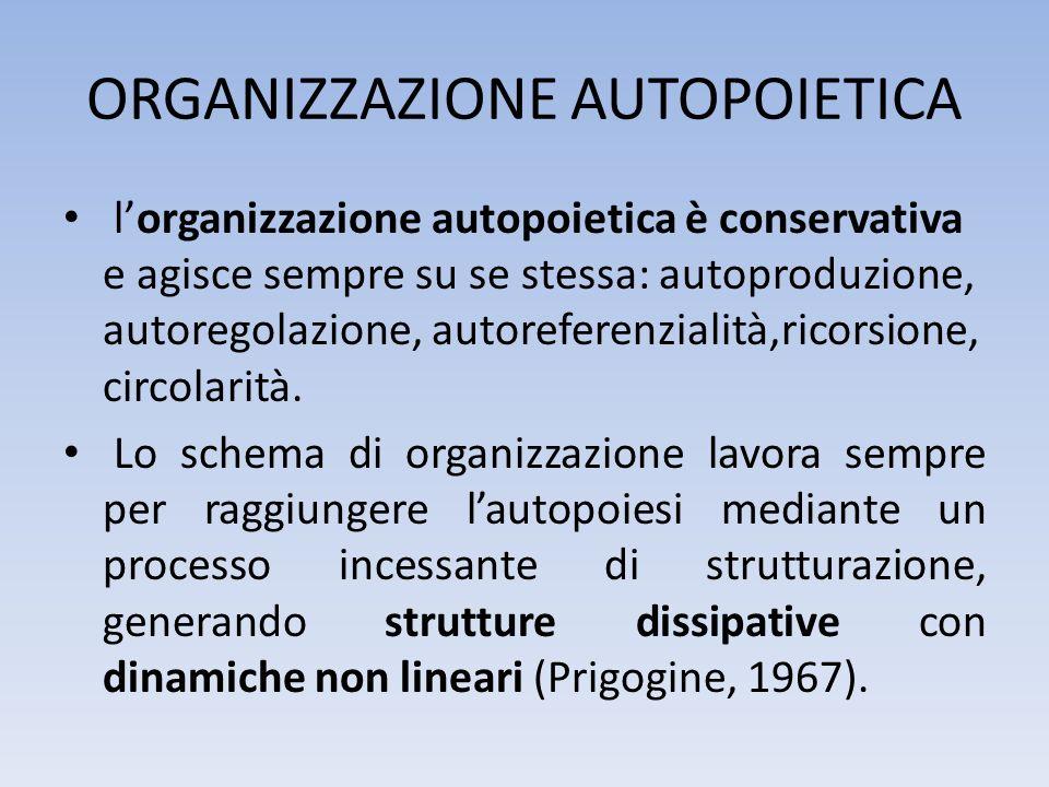 ORGANIZZAZIONE AUTOPOIETICA lorganizzazione autopoietica è conservativa e agisce sempre su se stessa: autoproduzione, autoregolazione, autoreferenzial