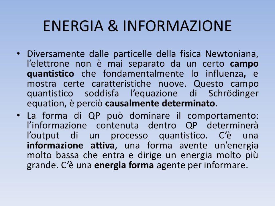 ENERGIA & INFORMAZIONE Diversamente dalle particelle della fisica Newtoniana, lelettrone non è mai separato da un certo campo quantistico che fondamen