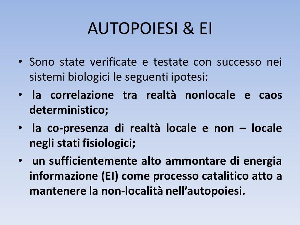 Sono state verificate e testate con successo nei sistemi biologici le seguenti ipotesi: la correlazione tra realtà nonlocale e caos deterministico; la