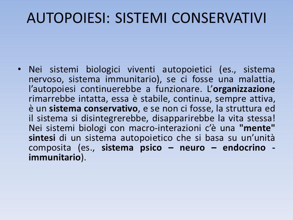 AUTOPOIESI: SISTEMI CONSERVATIVI Nei sistemi biologici viventi autopoietici (es., sistema nervoso, sistema immunitario), se ci fosse una malattia, lau