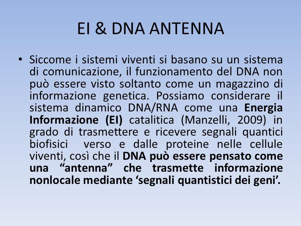 EI & DNA ANTENNA Siccome i sistemi viventi si basano su un sistema di comunicazione, il funzionamento del DNA non può essere visto soltanto come un ma