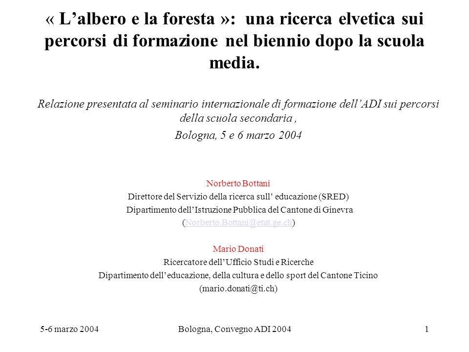 5-6 marzo 2004Bologna, Convegno ADI 20041 « Lalbero e la foresta »: una ricerca elvetica sui percorsi di formazione nel biennio dopo la scuola media.