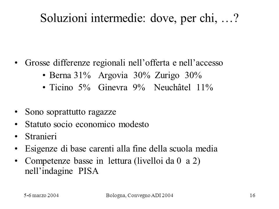 5-6 marzo 2004Bologna, Convegno ADI 200416 Soluzioni intermedie: dove, per chi, …? Grosse differenze regionali nellofferta e nellaccesso Berna 31%Argo