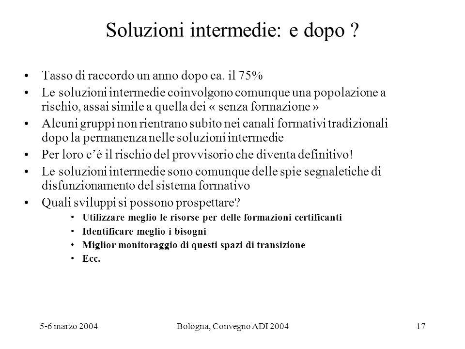 5-6 marzo 2004Bologna, Convegno ADI 200417 Soluzioni intermedie: e dopo ? Tasso di raccordo un anno dopo ca. il 75% Le soluzioni intermedie coinvolgon