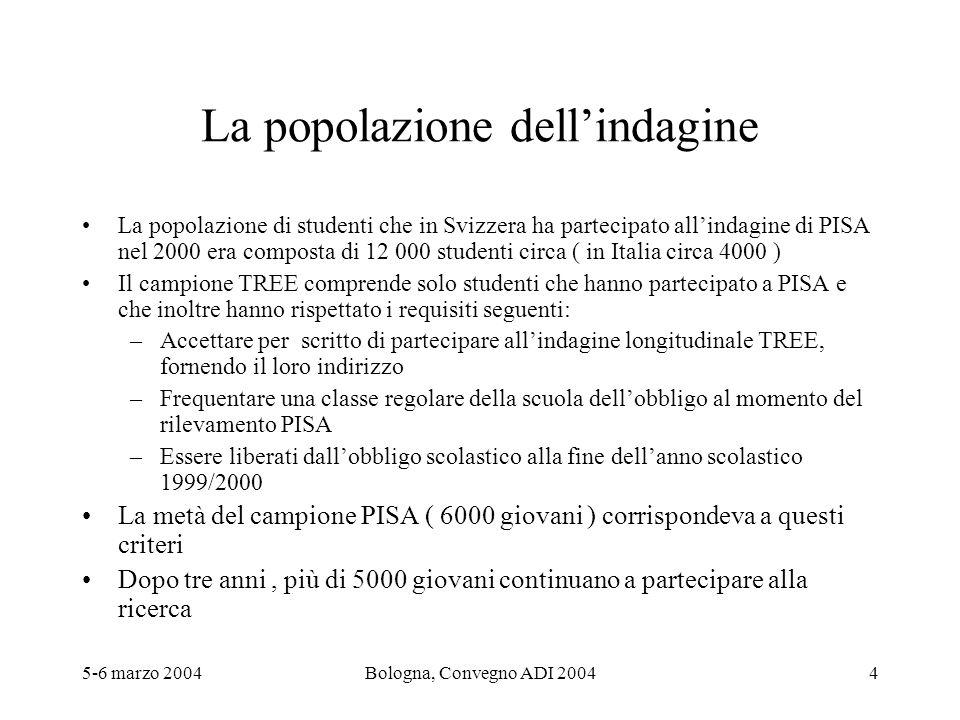 5-6 marzo 2004Bologna, Convegno ADI 20044 La popolazione dellindagine La popolazione di studenti che in Svizzera ha partecipato allindagine di PISA ne