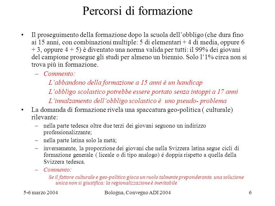 5-6 marzo 2004Bologna, Convegno ADI 20047 Percorsi di formazione Le competenze in letture misurate (nellambito dellindagine PISA) non sono un fattore di orientamento determinante: a competenze in lettura identica, gli studenti che nella scuola media frequentano indirizzi o filiere con esigenze elevate ( la scuola media è unica ed indifferenziata solo in un cantone -- il Giura-- e parzialmente in un altro, il Ticino) si ritrovano in proprozione doppia o tripla negli indirizzi di tipo liceale rispetto a quelli che si iscrivono in formazioni meno esigenti.