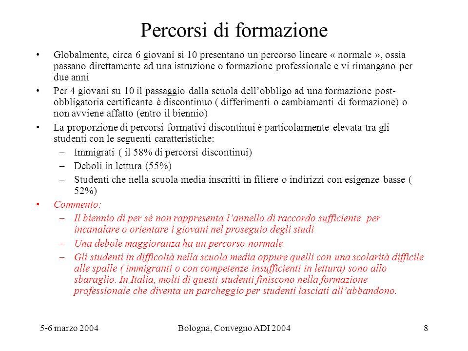 5-6 marzo 2004Bologna, Convegno ADI 20048 Percorsi di formazione Globalmente, circa 6 giovani si 10 presentano un percorso lineare « normale », ossia