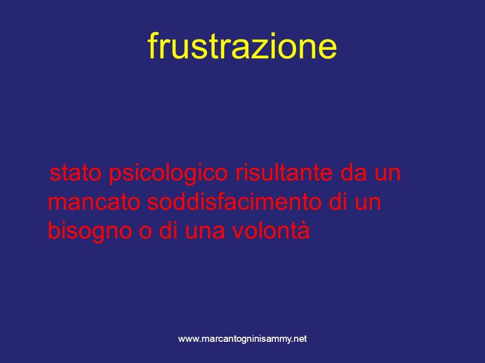 www.marcantogninisammy.net frustrazione stato psicologico risultante da un mancato soddisfacimento di un bisogno o di una volontà