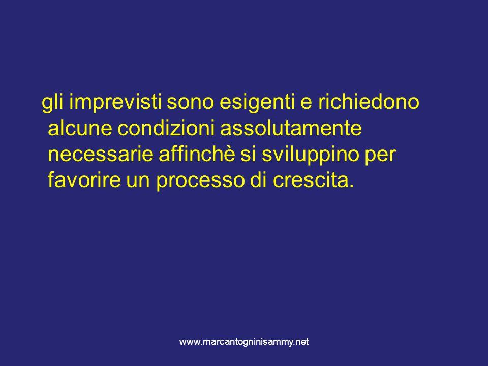 www.marcantogninisammy.net gli imprevisti sono esigenti e richiedono alcune condizioni assolutamente necessarie affinchè si sviluppino per favorire un