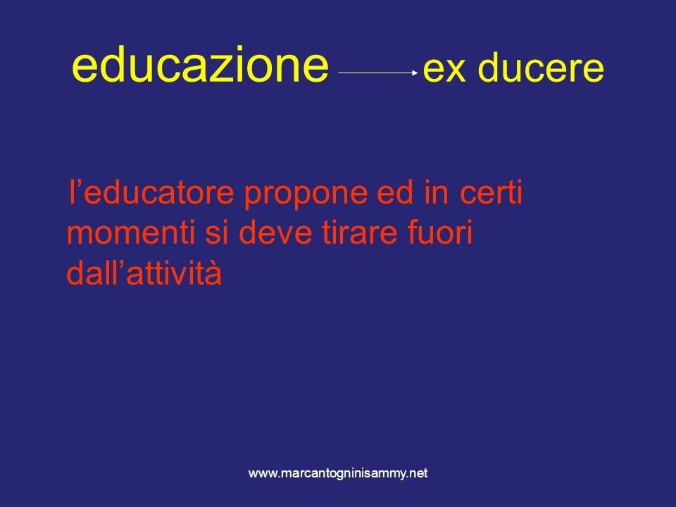 www.marcantogninisammy.net educazione ex ducere leducatore propone ed in certi momenti si deve tirare fuori dallattività