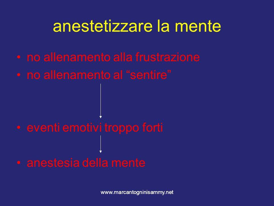 www.marcantogninisammy.net anestetizzare la mente no allenamento alla frustrazione no allenamento al sentire eventi emotivi troppo forti anestesia del