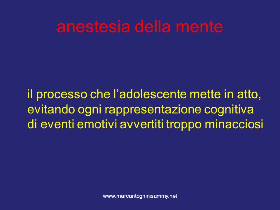 www.marcantogninisammy.net anestesia della mente il processo che ladolescente mette in atto, evitando ogni rappresentazione cognitiva di eventi emotiv