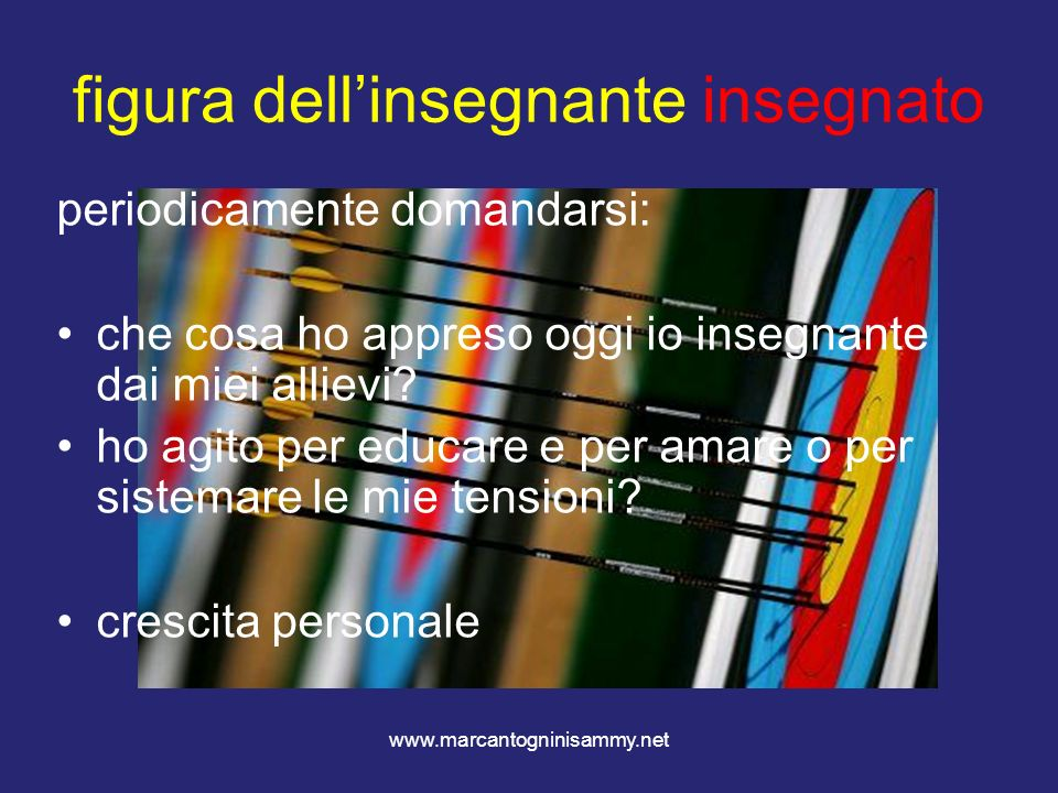 www.marcantogninisammy.net figura dellinsegnante insegnato periodicamente domandarsi: che cosa ho appreso oggi io insegnante dai miei allievi? ho agit
