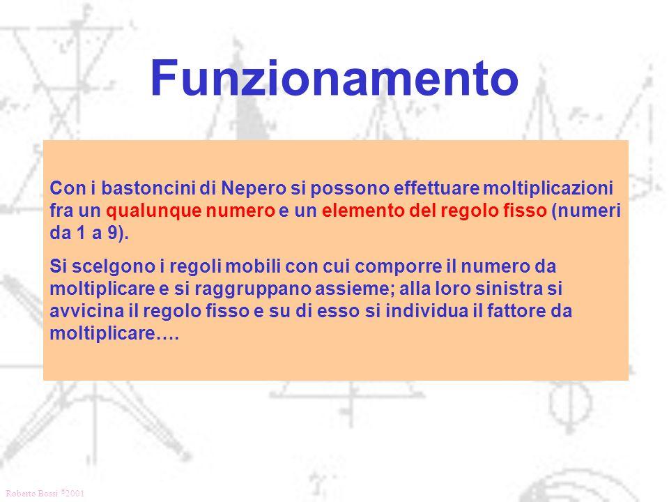 Roberto Bossi © 2001 Funzionamento Con i bastoncini di Nepero si possono effettuare moltiplicazioni fra un qualunque numero e un elemento del regolo f