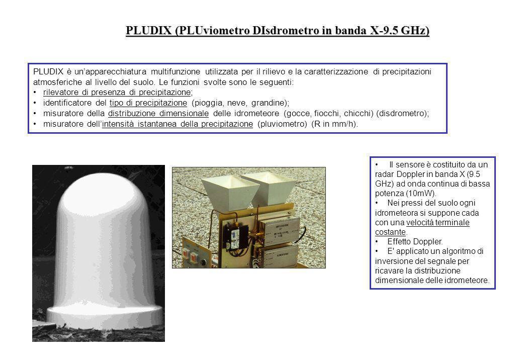 PLUDIX (PLUviometro DIsdrometro in banda X-9.5 GHz) PLUDIX è unapparecchiatura multifunzione utilizzata per il rilievo e la caratterizzazione di preci
