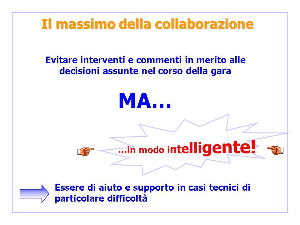 Il massimo della collaborazione Evitare interventi e commenti in merito alle decisioni assunte nel corso della gara MA… …in modo i n t e lli ge nte !