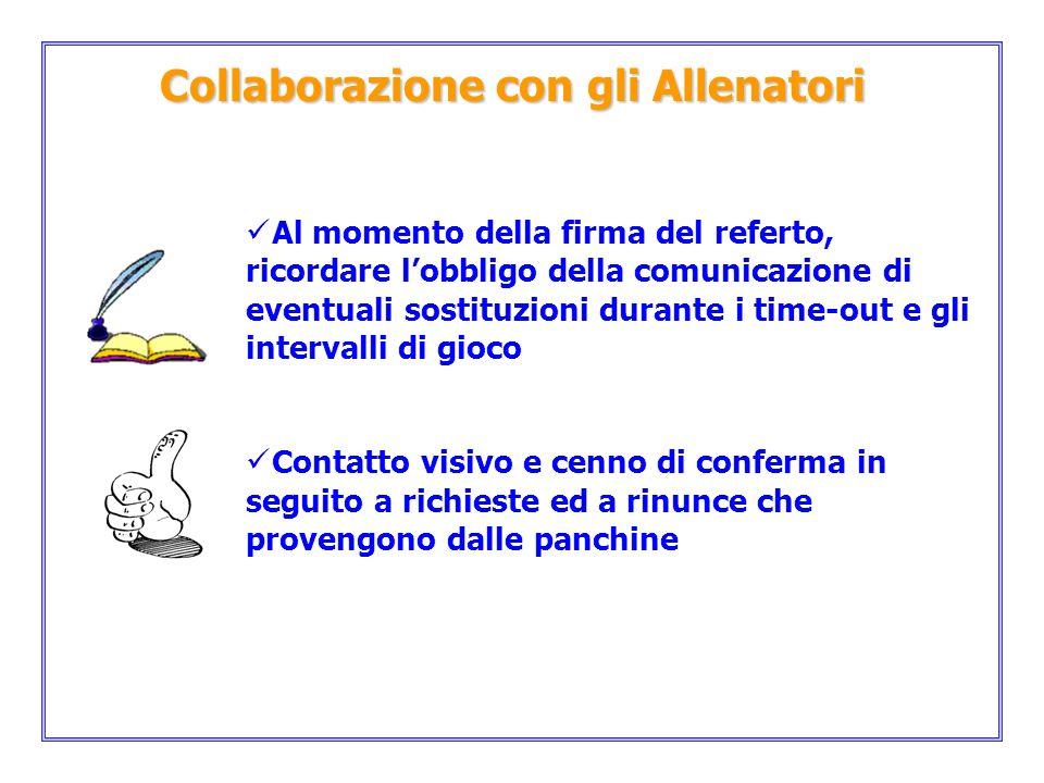 Collaborazione con gli Allenatori Al momento della firma del referto, ricordare lobbligo della comunicazione di eventuali sostituzioni durante i time-