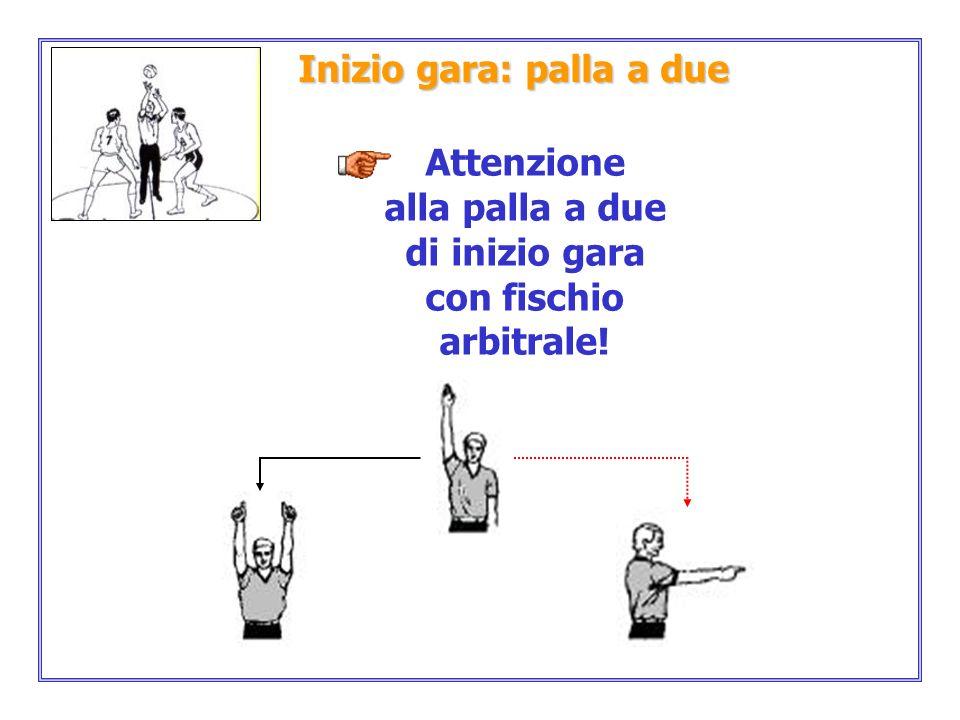 Inizio gara: palla a due Attenzione alla palla a due di inizio gara con fischio arbitrale!