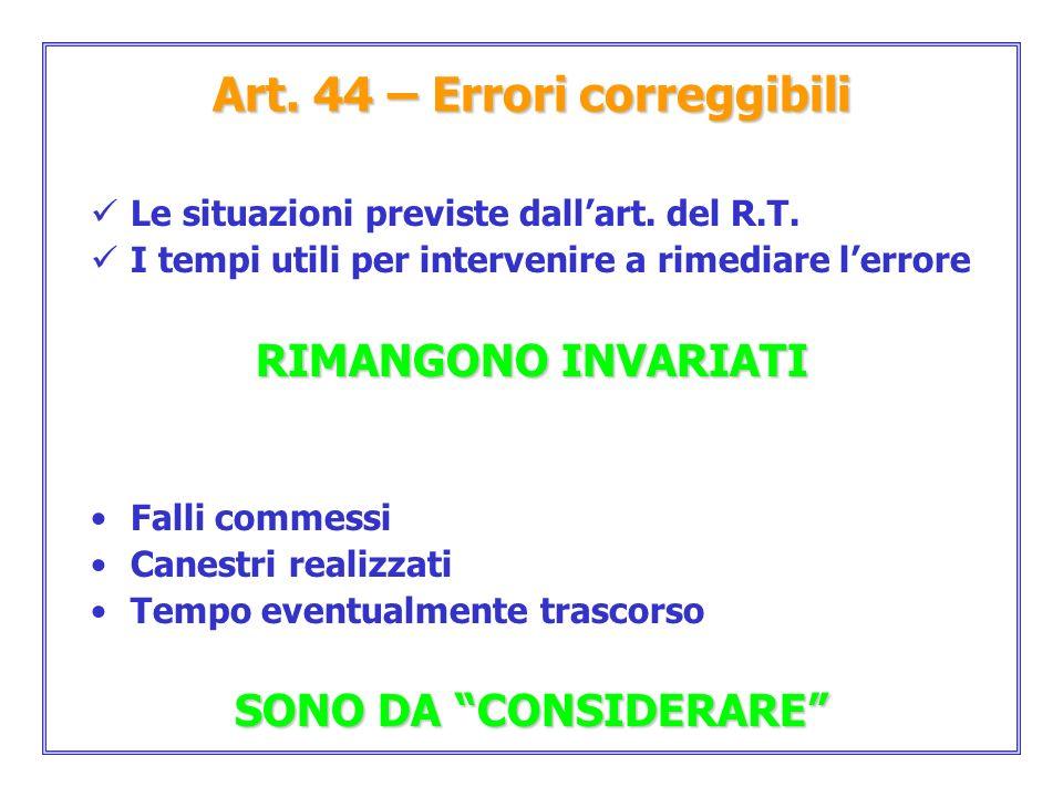 Art. 44 – Errori correggibili Le situazioni previste dallart. del R.T. I tempi utili per intervenire a rimediare lerrore RIMANGONO INVARIATI Falli com