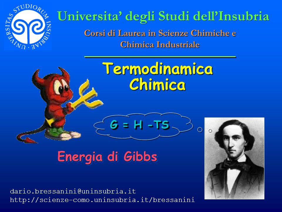 © Dario Bressanini Energia di Gibbs e Spontaneità Poichè G = H – TS La variazione finita di G è G = H- (TS) A Temperatura e pressione costante G = H- T S G = H- T S G < 0 - processo spontaneo G < 0 - processo spontaneo G > 0 - processo non spontaneo (spontaneo nella direzione opposta) G > 0 - processo non spontaneo (spontaneo nella direzione opposta) G = 0 - sistema in equilibrio G = 0 - sistema in equilibrio
