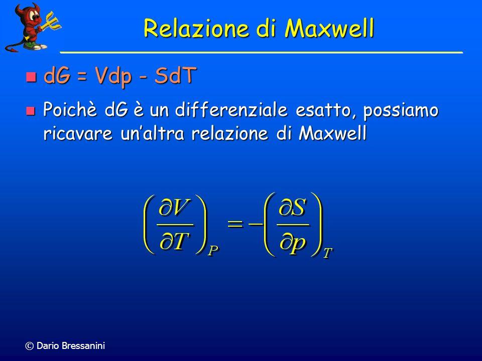 © Dario Bressanini Relazione di Maxwell dG = Vdp - SdT dG = Vdp - SdT Poichè dG è un differenziale esatto, possiamo ricavare unaltra relazione di Maxw