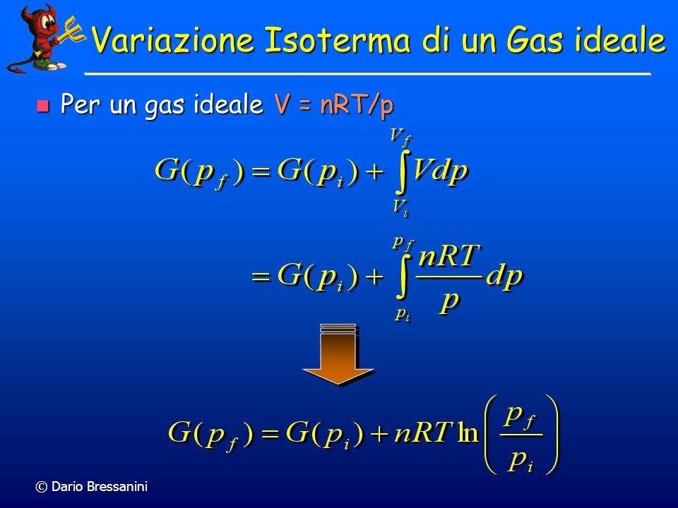 © Dario Bressanini Per un gas ideale V = nRT/p Per un gas ideale V = nRT/p Variazione Isoterma di un Gas ideale