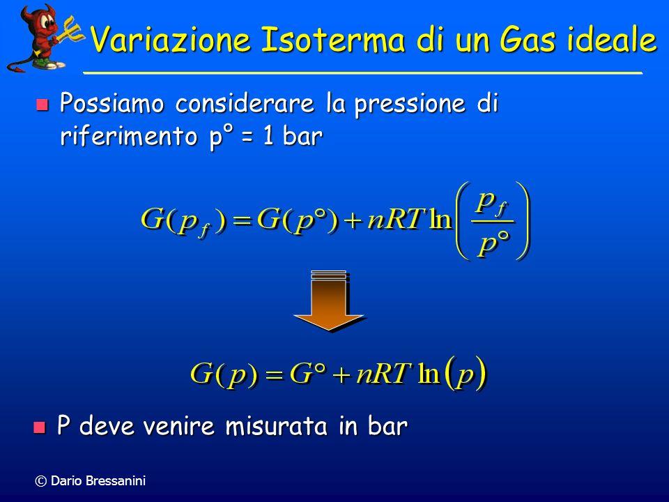 © Dario Bressanini Possiamo considerare la pressione di riferimento p° = 1 bar Possiamo considerare la pressione di riferimento p° = 1 bar Variazione