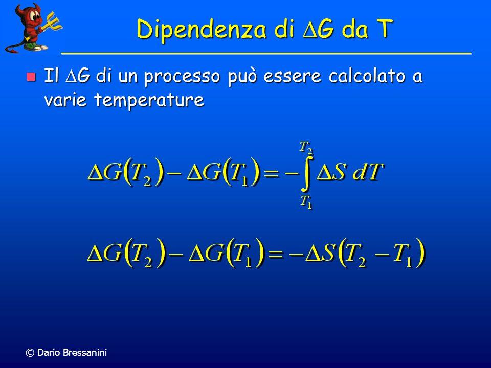 © Dario Bressanini Il G di un processo può essere calcolato a varie temperature Il G di un processo può essere calcolato a varie temperature Dipendenz