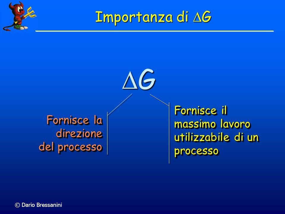 © Dario Bressanini Importanza di G G Fornisce il massimo lavoro utilizzabile di un processo Fornisce la direzione del processo