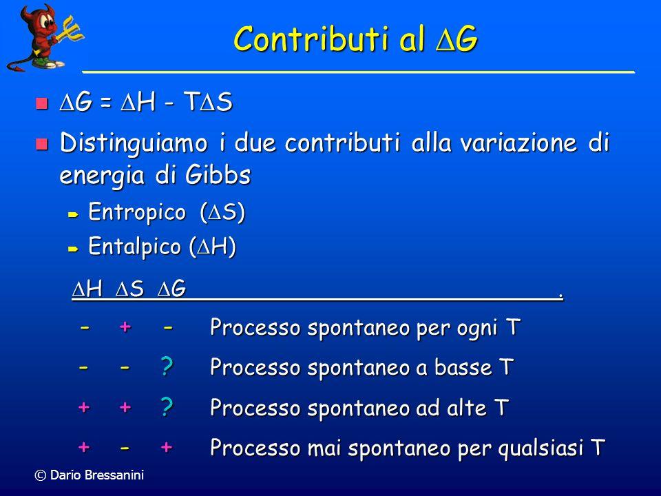 © Dario Bressanini Contributi al G G = H - T S G = H - T S Distinguiamo i due contributi alla variazione di energia di Gibbs Distinguiamo i due contri