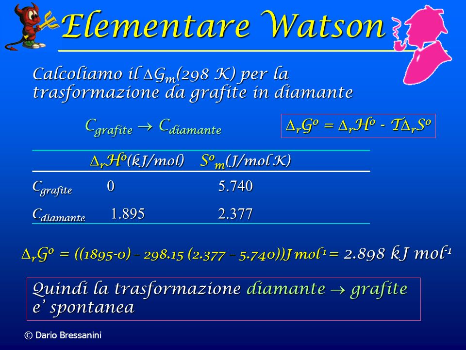 © Dario Bressanini C grafite C diamante r H o (kJ/mol) S o m (J/mol K) r H o (kJ/mol) S o m (J/mol K) C grafite 0 5.740 C diamante 1.895 2.377 r G o =