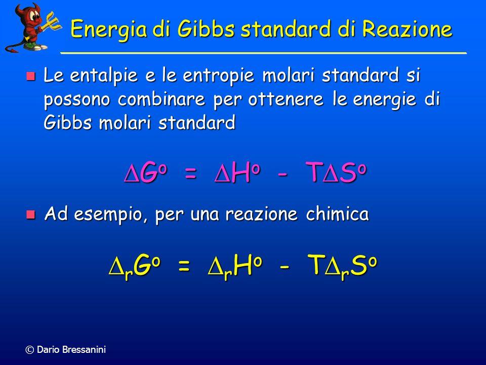 © Dario Bressanini Energia di Gibbs standard di Reazione Le entalpie e le entropie molari standard si possono combinare per ottenere le energie di Gib