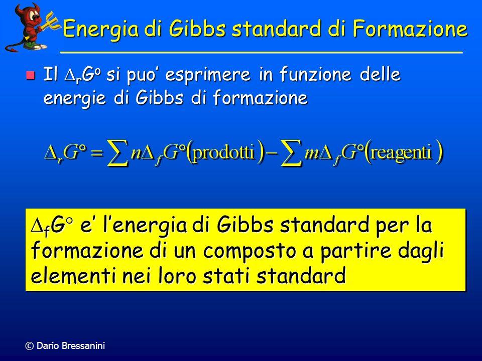 © Dario Bressanini Energia di Gibbs standard di Formazione Il r G o si puo esprimere in funzione delle energie di Gibbs di formazione Il r G o si puo