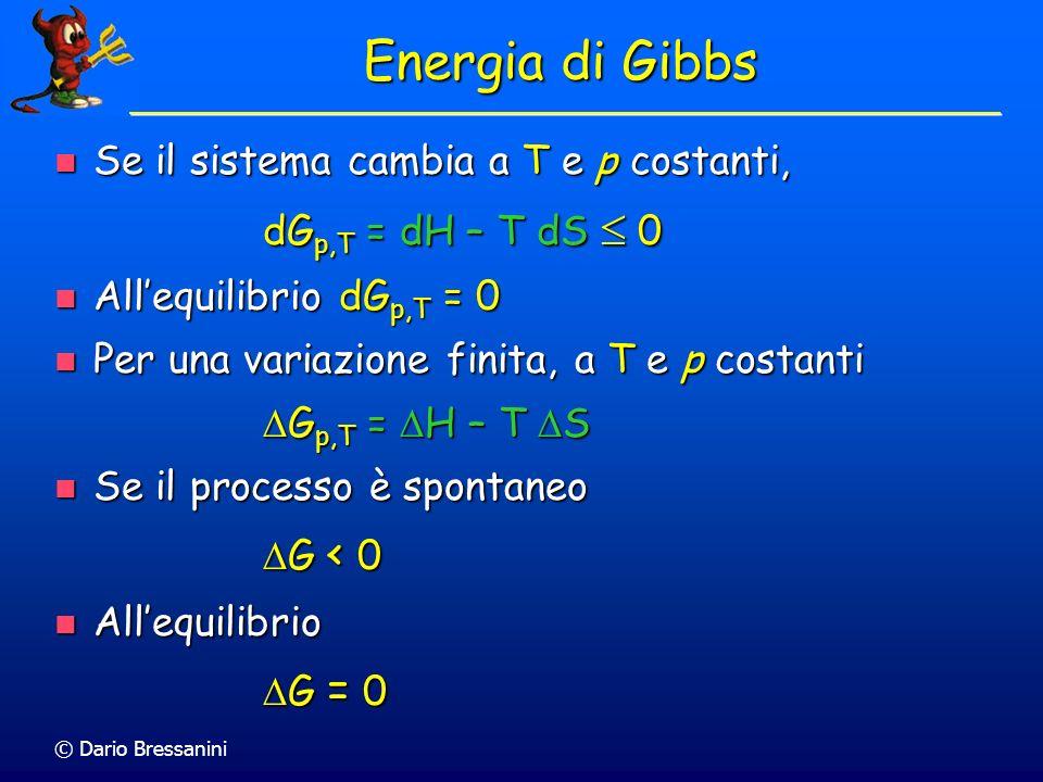 © Dario Bressanini Energia di Gibbs standard di Reazione Le entalpie e le entropie molari standard si possono combinare per ottenere le energie di Gibbs molari standard Le entalpie e le entropie molari standard si possono combinare per ottenere le energie di Gibbs molari standard G o = H o - T S o G o = H o - T S o Ad esempio, per una reazione chimica Ad esempio, per una reazione chimica r G o = r H o - T r S o r G o = r H o - T r S o