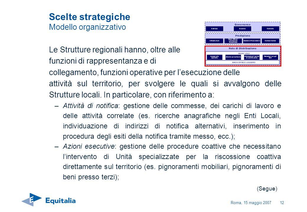 Roma, 15 maggio 200712 Le Strutture regionali hanno, oltre alle funzioni di rappresentanza e di collegamento, funzioni operative per lesecuzione delle