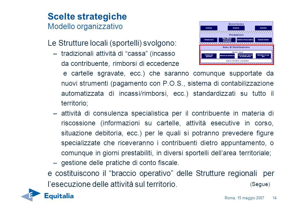 Roma, 15 maggio 200714 Le Strutture locali (sportelli) svolgono: –tradizionali attività di cassa (incasso da contribuente, rimborsi di eccedenze e car