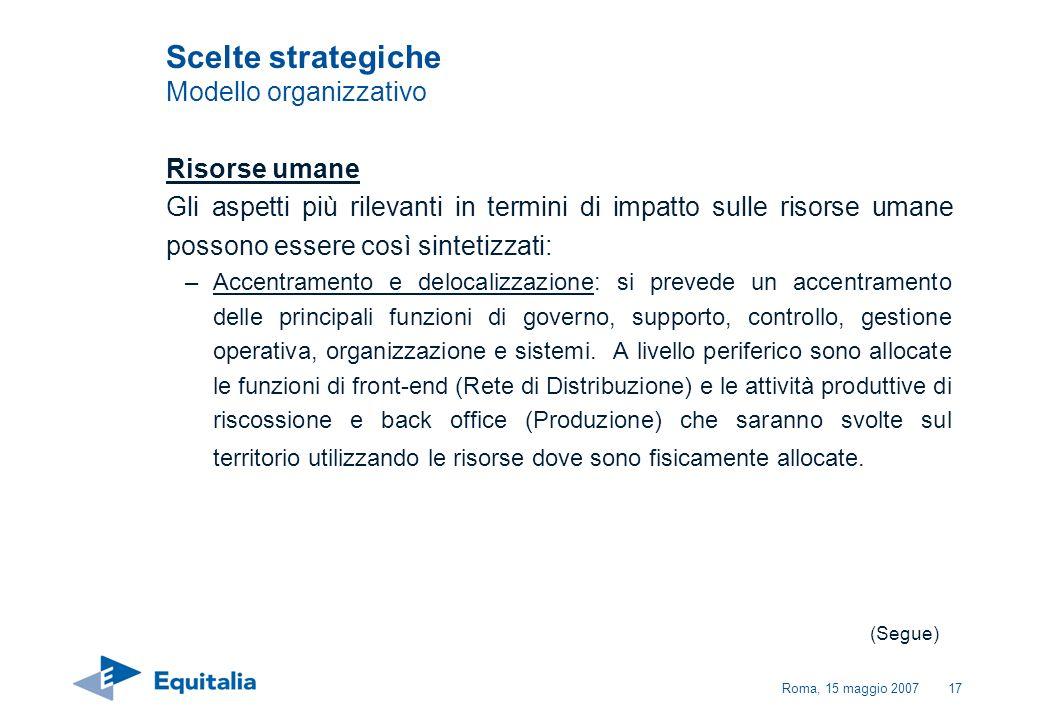 Roma, 15 maggio 200717 Risorse umane Gli aspetti più rilevanti in termini di impatto sulle risorse umane possono essere così sintetizzati: –Accentrame