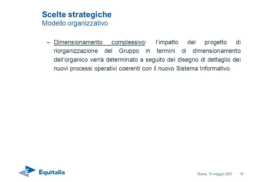 Roma, 15 maggio 200719 –Dimensionamento complessivo: limpatto del progetto di riorganizzazione del Gruppo in termini di dimensionamento dellorganico v