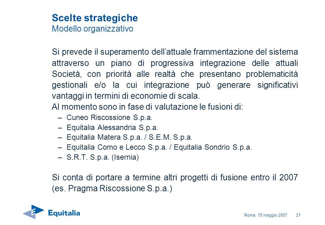 Roma, 15 maggio 200721 Si prevede il superamento dellattuale frammentazione del sistema attraverso un piano di progressiva integrazione delle attuali