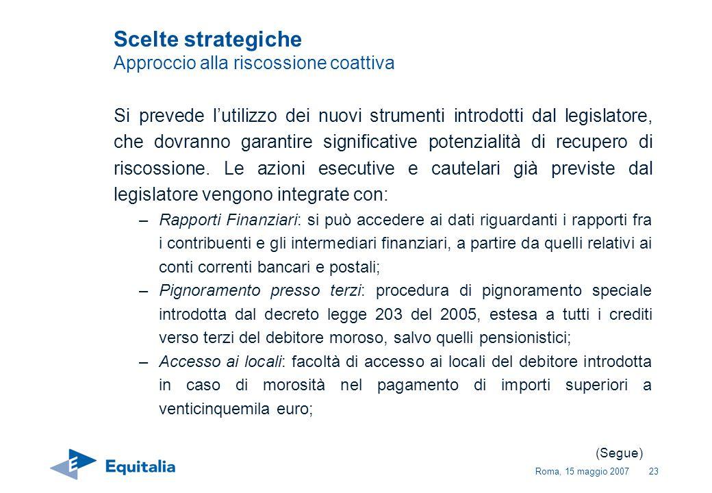 Roma, 15 maggio 200723 Si prevede lutilizzo dei nuovi strumenti introdotti dal legislatore, che dovranno garantire significative potenzialità di recup