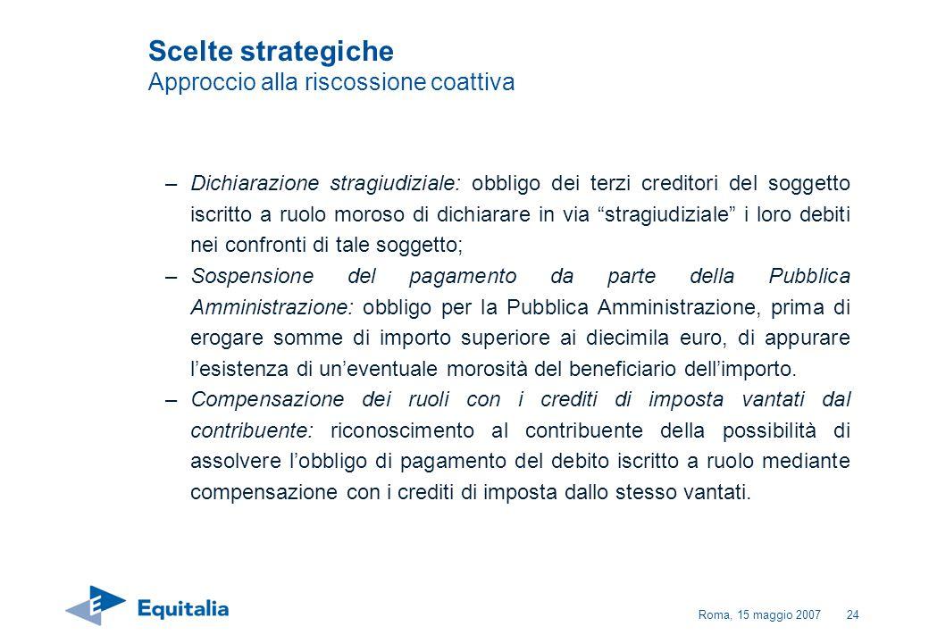 Roma, 15 maggio 200724 –Dichiarazione stragiudiziale: obbligo dei terzi creditori del soggetto iscritto a ruolo moroso di dichiarare in via stragiudiz
